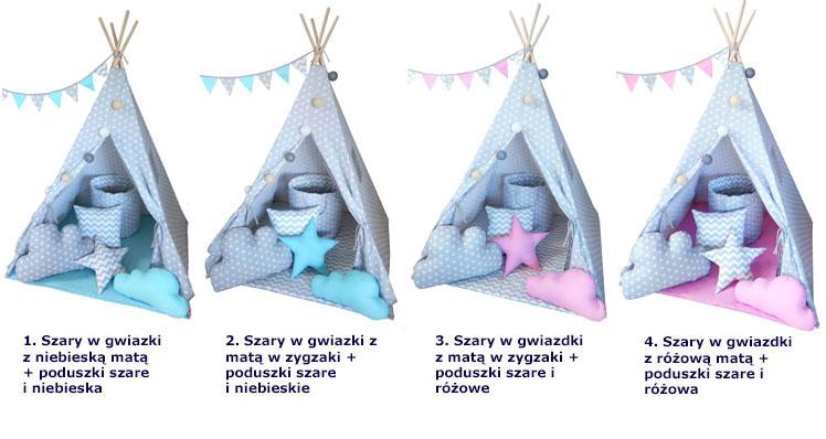 Namiot tipi Somit z koszem na za zabawki, poduszkami, girlandą i oświetleniem