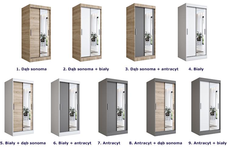Dostępne opcje kolorystyczne szafy Palmira 2X