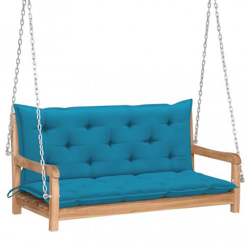 Drewniana huśtawka z błękitną poduszką Paloma 2X