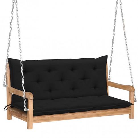 Drewniana huśtawka z czarną poduszką Paloma 2x