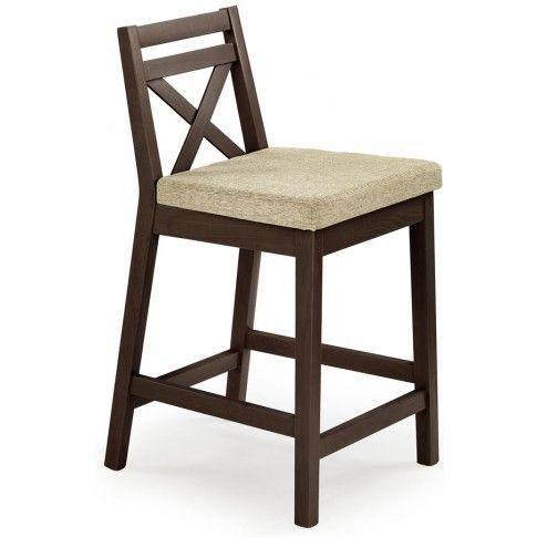 Zdjęcie produktu Drewniane krzesło do baru Lidan - ciemny orzech.