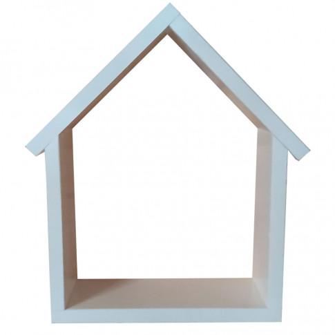 Drewniana półka wisząca w formie domku Dorina