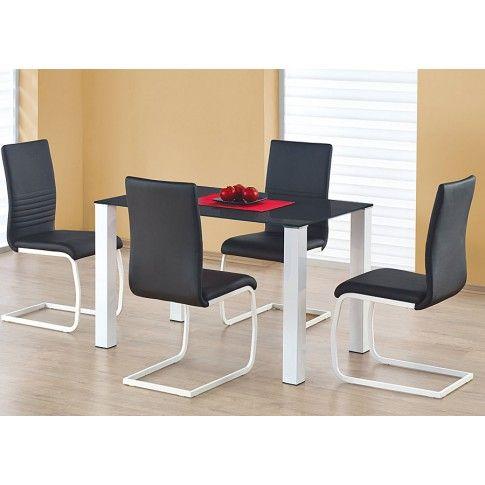 Zdjęcie produktu Stół szklany Mertis - biało czarny.