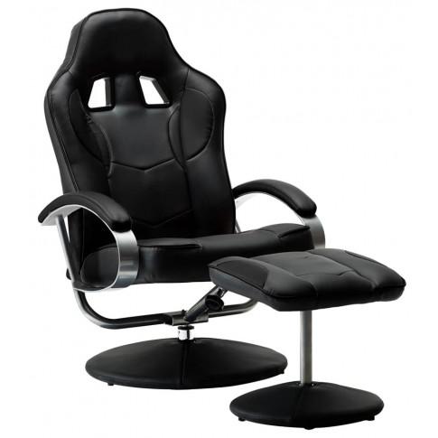 Czarny fotel z podnóżkiem Endy