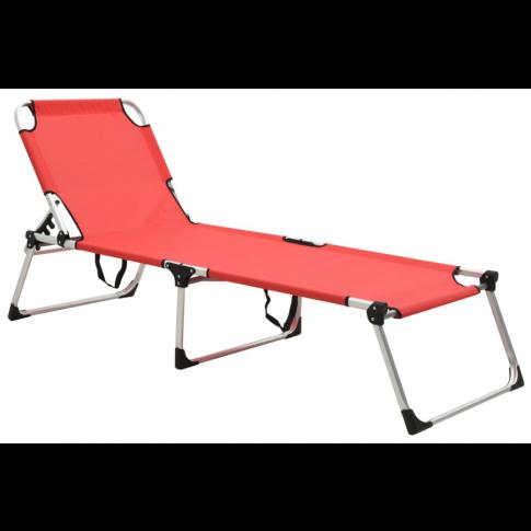 Leżak Sollero z czerwonym obiciem