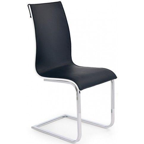 Zdjęcie produktu Tapicerowane krzesło Harry - czarne + biały połysk.