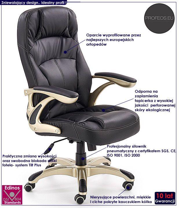 Czarny fotel obrotowy do biura Karel