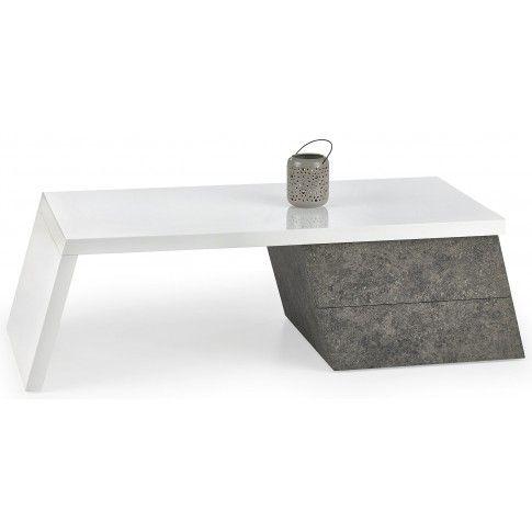 Zdjęcie produktu Lakierowana ława Zafira - biały połysk + beton.