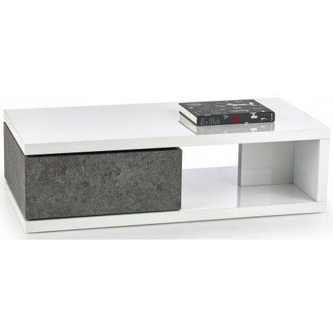 Zdjęcie produktu Lakierowana ława Dakaria - biały połysk + beton.