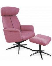 Fotel z podnóżkiem Livar - różowy