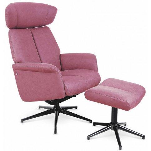 Zdjęcie produktu Fotel z podnóżkiem Livar - różowy.