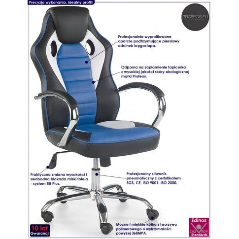 Fotografia Fotel biurowy Afton - czarny + niebieski z kategorii Fotele obrotowe