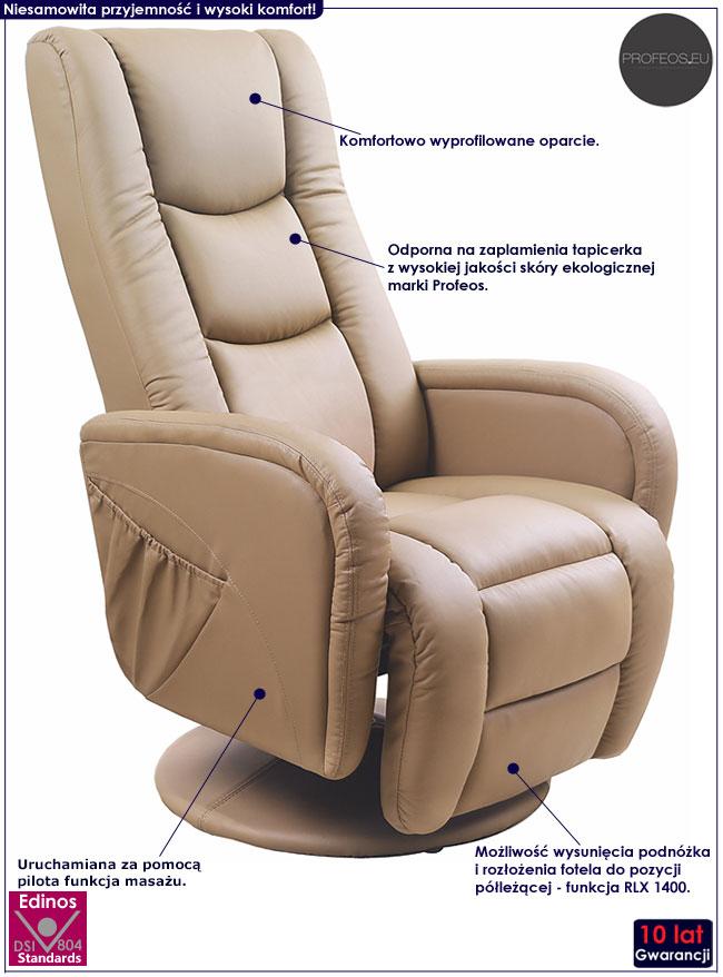 Wypoczynkowy beżowy fotel masujący Litos