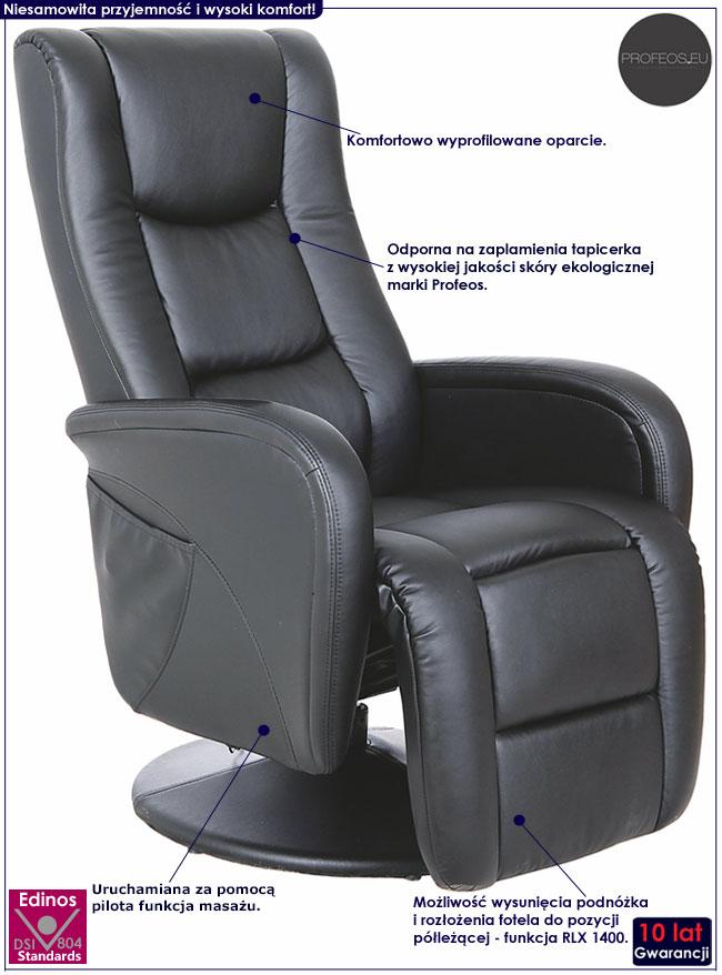 Czarny rozkładany fotel masujący Litos