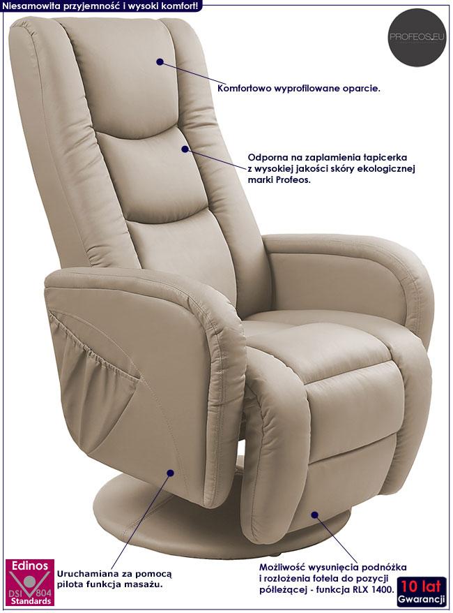 Beżowy rozkładany fotel z masażem Litos