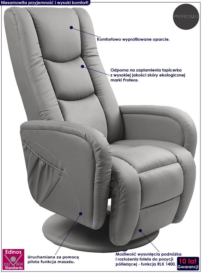 Popielaty fotel wypoczynkowy z masażem Litos