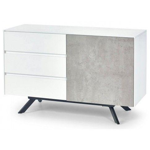 Zdjęcie produktu Industrialna komoda Tones 2X - biały połysk + szary beton.