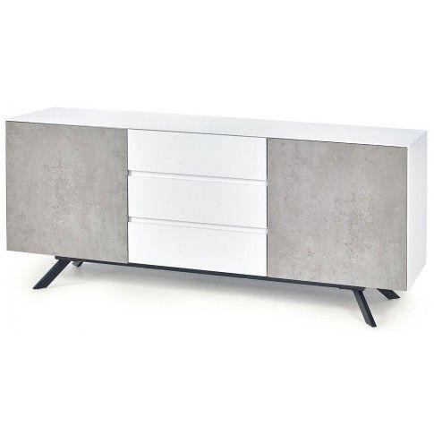 Zdjęcie produktu Minimalistyczna komoda Tones 3X - biały połysk + beton.