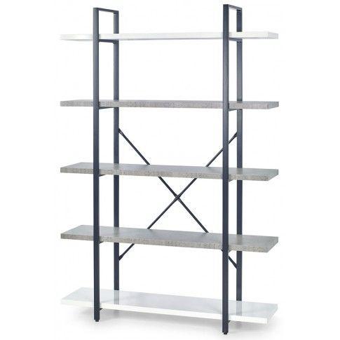 Zdjęcie produktu Minimalistyczny regał Tones 5X - biały połysk + beton.
