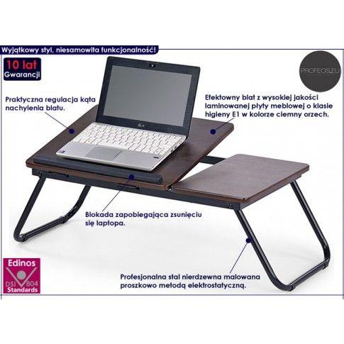 Fotografia Regulowany stolik pod laptopa Lavix - ciemny orzech z kategorii Stoliki pod laptopa