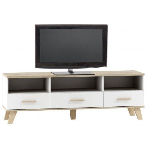 Zdjęcie produktu Szafka pod telewizor Lefis 5X - biała + dąb sonoma.
