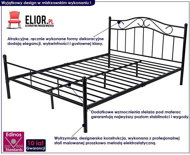 Czarne metalowe łóżko 160x200 Inello 3X