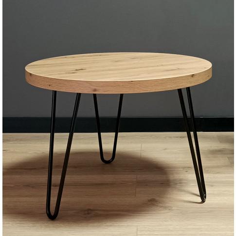 Loftowy stolik kawowy w odcieniu dąb artisan Juno