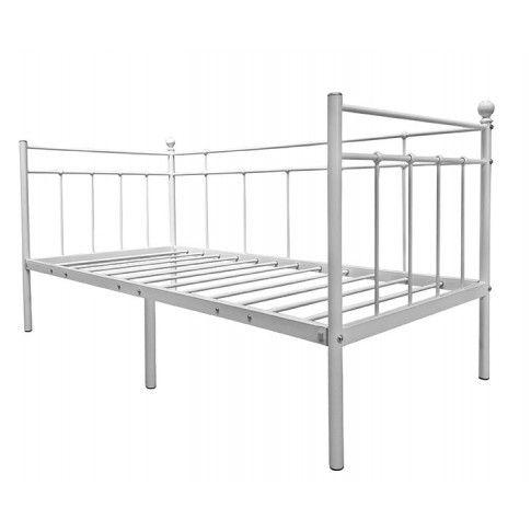 Zdjęcie produktu Pojedyncze jednoosobowe łóżko metalowe Toles 90x200 - białe.