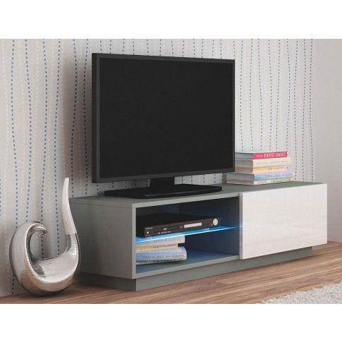 Zdjęcie produktu Szafka RTV z oświetleniem Vomes 4X - biały połysk + popiel.