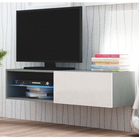 Zdjęcie produktu Wisząca szafka RTV podświetlona Vomes 5X - biały połysk + popiel.