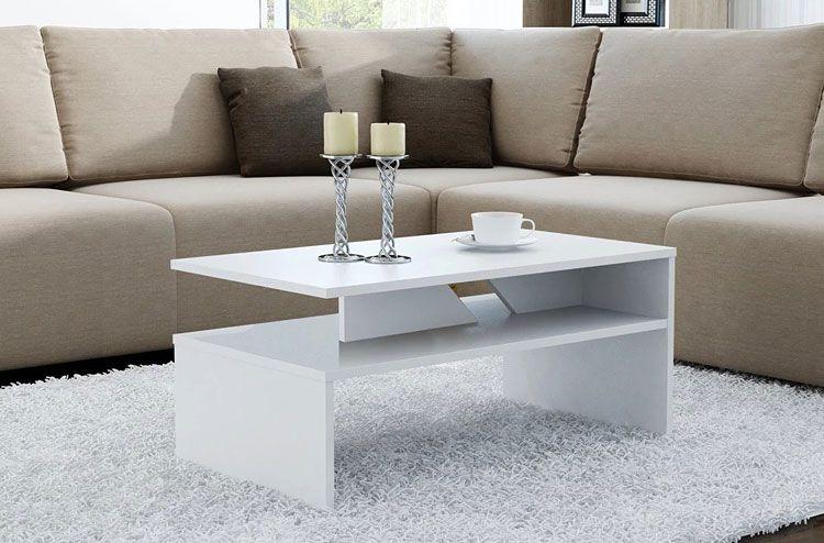 Biały stolik kawowy z półką Orina