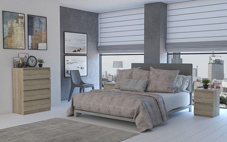 Wnętrze sypialni z komodą Letia w kolorze dąb sonoma