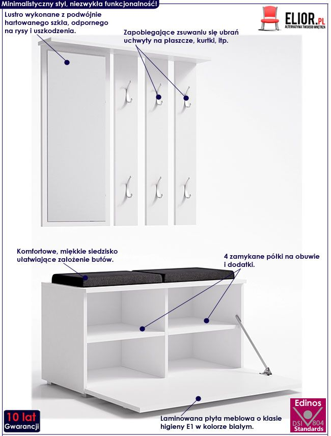 Biała garderoba z lustrem do przedpokoju Malea