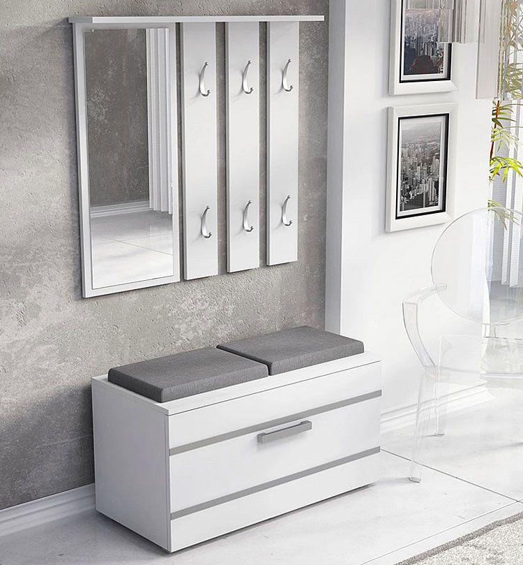 Biała garderoba z lustrem i siedziskiem Malea