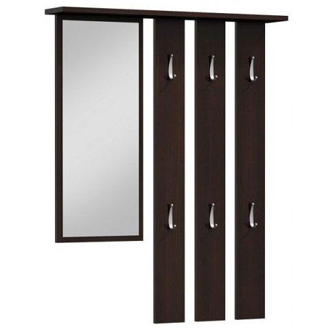Zdjęcie produktu Wieszak ścienny z lustrem Tinez - wenge.