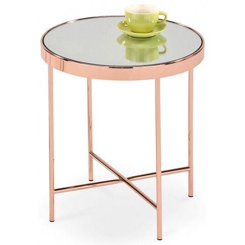Zdjęcie produktu Okrągły stolik szklany z efektem lustra Lilla - miedziana.