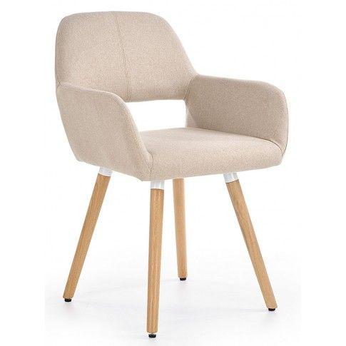 Zdjęcie produktu Tapicerowane krzesło z podłokietnikami Odeon - beżowe.