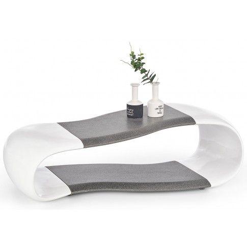 Zdjęcie produktu Lakierowana ława Lorea - biały połysk + grafit.
