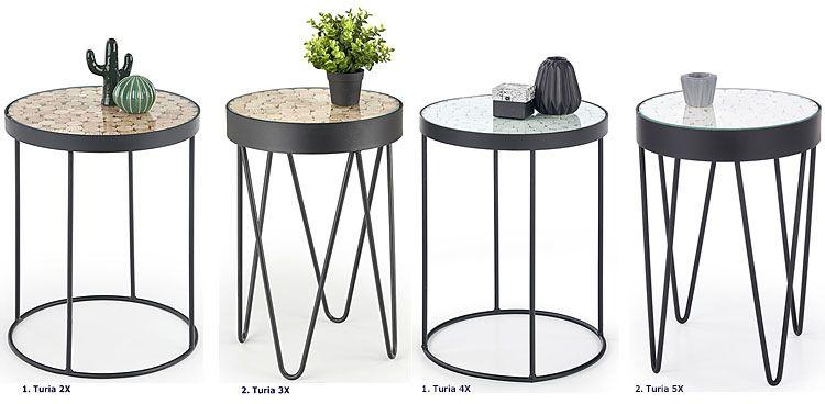 Okrągły wysoki stolik kawowy z drewnianym blatem Turia