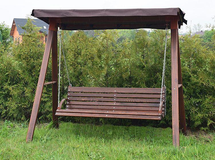 Drewniana huśtawka ogrodowa z daszkiem Magis 4X