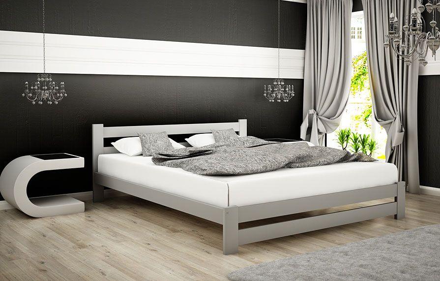 łóżko szare marsel drewniane
