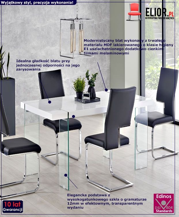 Elegancki stół do salonu Piero - biały
