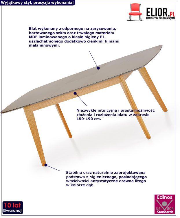 Rozkładany stół Varso - popielaty