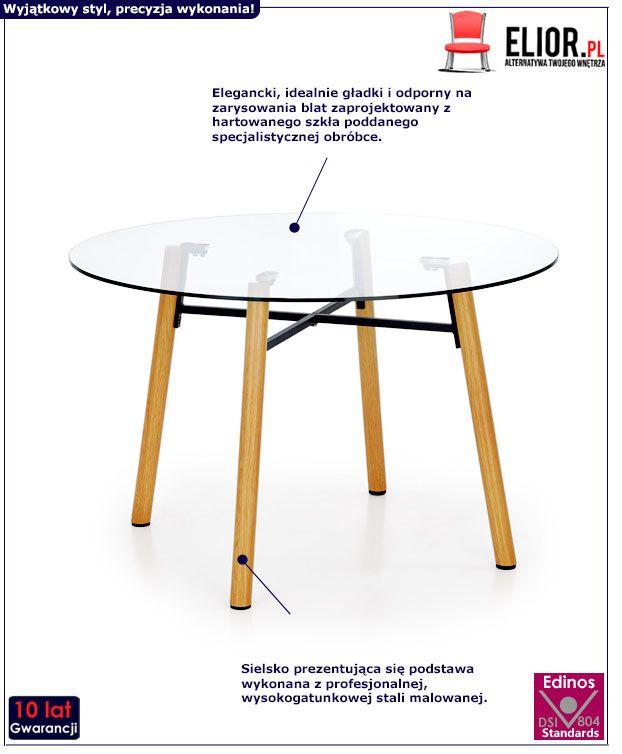 Szklany stół Reon - buk