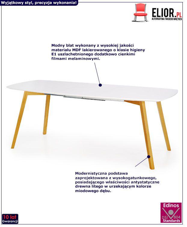 Rozkładany stół Modeo - biały