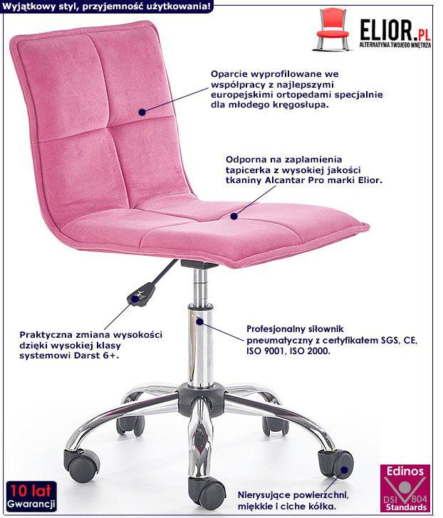 Różowy fotel obrotowy do biurka Lafix