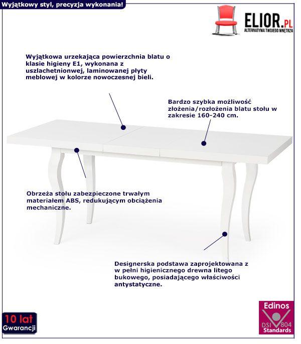 Elegancki stół Torres - biały
