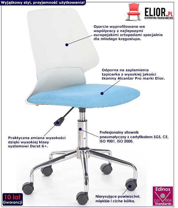 Niebieskie krzesło do biurka dla dziecka Eskan