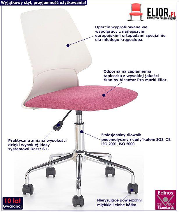 Różowe krzesło do komputera dla dziewczynki Eskan