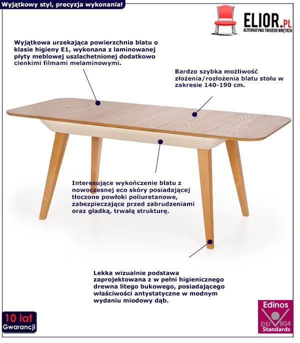 Rozkładany stół Portis - dąb miodowy